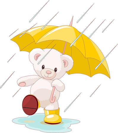 Ilustración de muy lindo oso de peluche bajo paraguas con gumboots