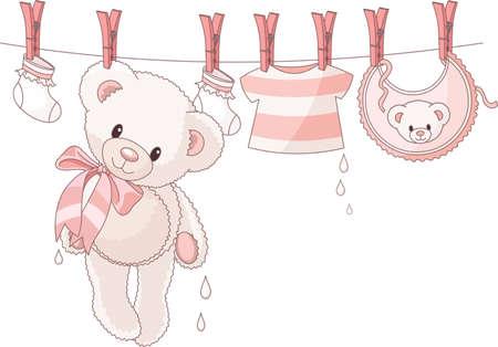 Lindo oso de peluche después de lavar colgantes entre ropa de bebé con una cuerda Ilustración de vector