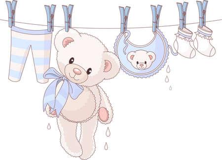 Lindo oso de peluche después de lavar colgantes entre ropa de bebé con una cuerda