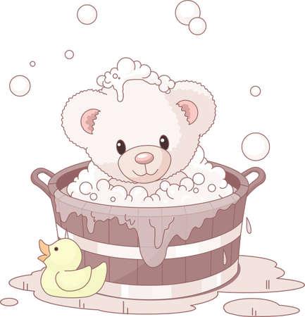 Cute Teddy Bear takes bubble bath Ilustração Vetorial