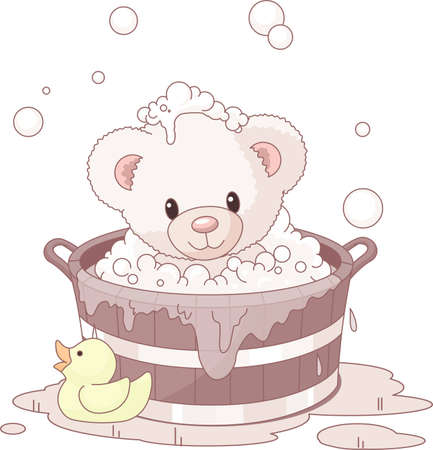 Süsse Teddybär nimmt Sprudelbad Vektorgrafik