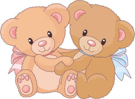 osos de peluche: Dos osos de peluche lindo abrazos Vectores