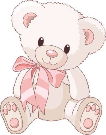 Illustration of Very Cute Teddy Bear with bow Vector