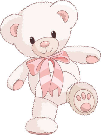 cubs: Illustration of Very Cute Teddy Bear with bow walking