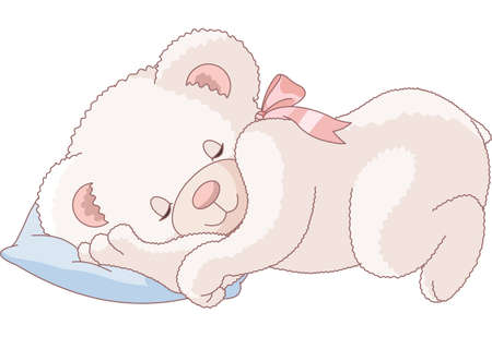 Illustration of Very Cute sleeping Teddy Bear  Stock Vector - 9782496