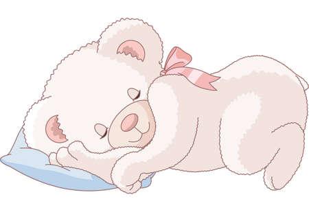 cushions: Illustration of Very Cute sleeping Teddy Bear