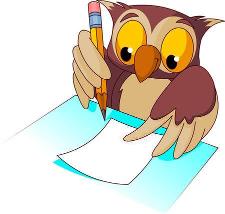 Búho sabio con lápiz listo para escribir