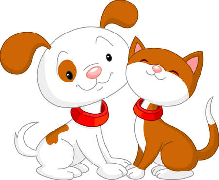 Cute Cat and dog sitting together Stock Vector - 9782514