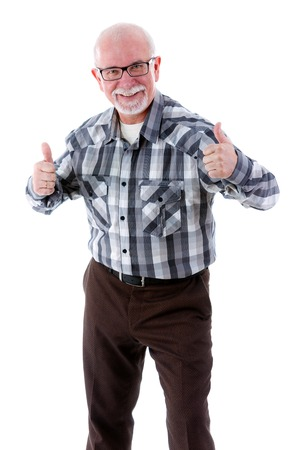 65 years old: Happy senior old man smiling and showing two thumbs up gesture on white