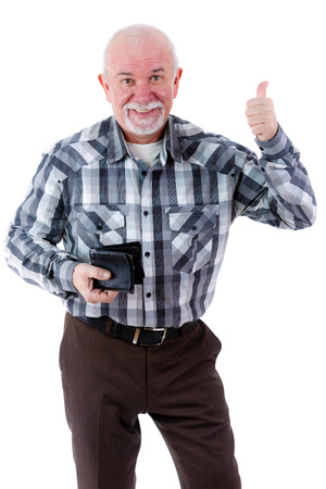 Happy smiling senior old man holding wallet and showing thumb up. isolated photo