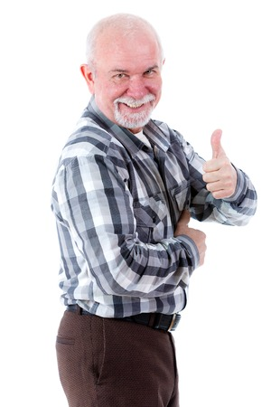 all right: Senior cool old man all right gesture. isolated on white background