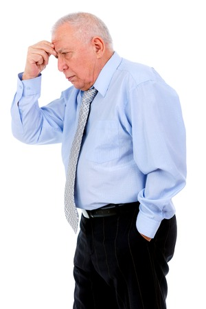 grumpy old man: Handsome mature old man businessman isolated over white background