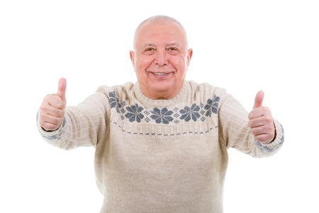 Closeup portrait, Happy smiling old man with white teeth, shows gesture two thumbs up on white. Isolated photo