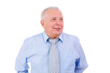 grumpy old man: Happy and smile old senior businessman in tie and shirt isolated on white background. Positive human emotion facial expression