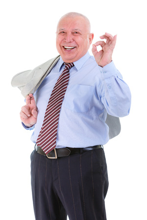 mature business man: Happy and smile old mature business man in shirt and tie