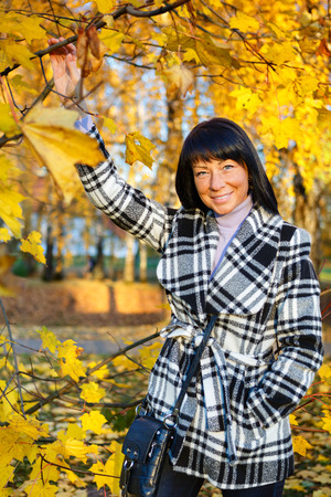 woman 40 years: Elegant and smiled brunette fashion woman 40 years old wearing warm clothes in the autumn forest, Gold autumn background