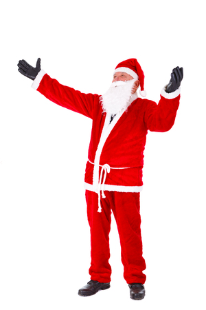 gloved: Santa Claus full length Portrait. Standing with hands open in gloved. Isolated on White Background