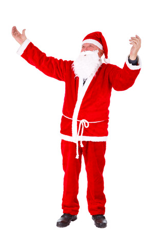conjuring: Santa Claus Portrait. Standing with hands open, full length Portrait Isolated on White Background