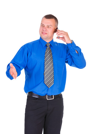 smiled: Happy and smile business man. Successful businessman in blue shirt and tie speak by cell mobile phone and showing gesture by hand, isolated white background, Concept of leadership and success