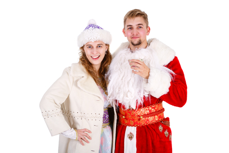 Christmas Santa Claus beardless and Smiling Snow Maiden drink tea , Isolated on White Background