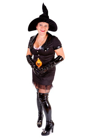 smile Woman dressed up in Halloween witch costum carnaval, show emotions of witch on white isolated background Stock Photo