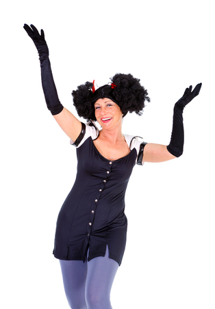 Woman dressed in Halloween costum carnaval, show emotions on white isolated background