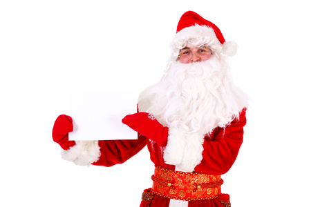 Santa Claus holding white blank sign Closeup Portrait. Isolated on White Background