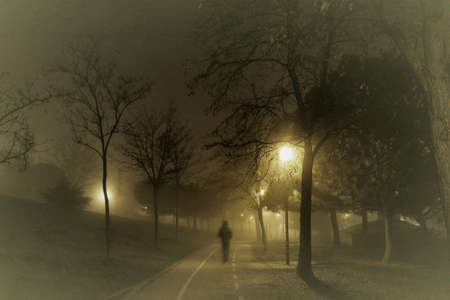 intense fog in the streets of old Madrid Banco de Imagens