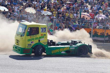 Madrid, Spain- April 4, 2016: Truck races in the Jarama circuit