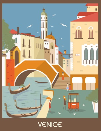 venice gondola: Gondolas in Venice, Italy in sunny day.Vector
