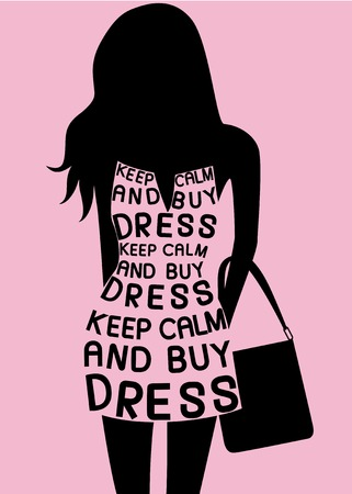 Fashion Woman in dress from quotes. Vector