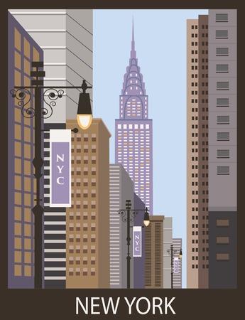clipart street light: New York city street. Vector Stock Photo
