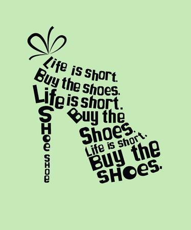 Fashion colored woman Shoe made from quotes Zdjęcie Seryjne - 33261361