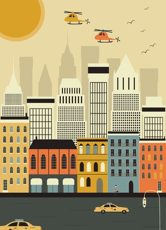 Helicopters over the New York city. Vector photo