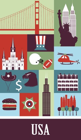 Symbols of USA made from different parts in bright colors