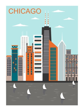 chicago skyline: Stylized Chicago city in bright colors.