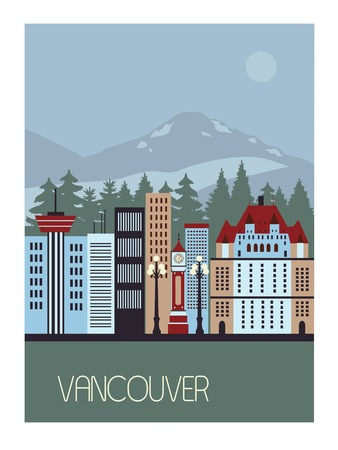 vancouver city: Vancouver Canada  in bright colors with skyscrapers Stock Photo