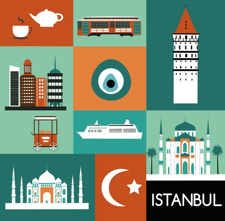 Symbols of Istanbul Turkey made from different parts Stock Photo