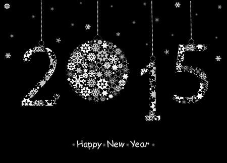 twenty thirteen: Happy New Year 2015 greeting card from white snowflakes. Vector Stock Photo