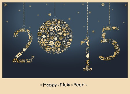 bonne ann�e: Happy New Year 2015 carte de v?ux de flocons de neige d'or. Vecteur