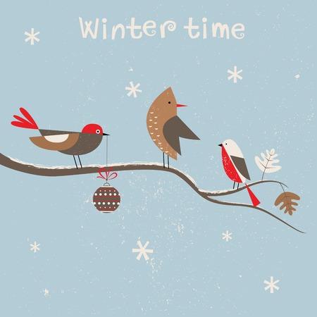 Christmas card for xmas design with birds. Vector photo