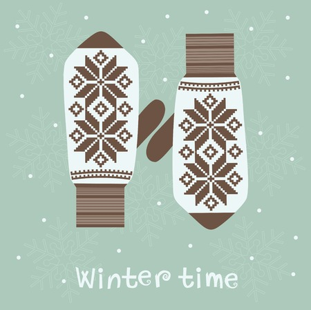 Christmas card with knitted  mittens. Winter decoration. Vector photo