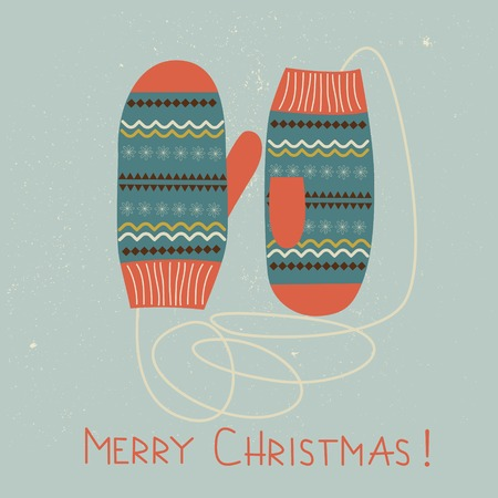 mittens: Card design with Christmas mittens. Vector