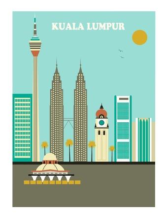 Kuala Lumpur city  in Malaysia. Vector illustration Stock Photo