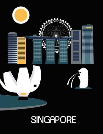 singapore skyline: Singapore city on black background. Vector illustration Stock Photo