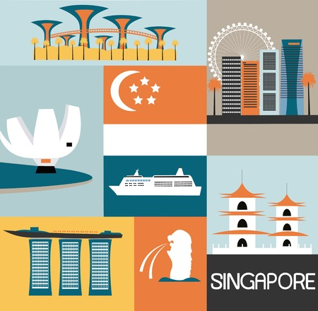 Symbols of Singapore made from different part 스톡 콘텐츠