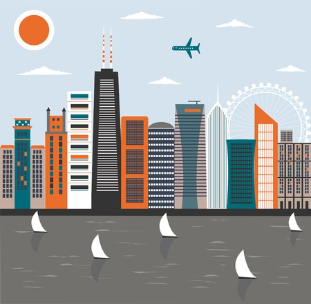 chicago skyline: Illustration of Modern city street in bright colors. Stock Photo