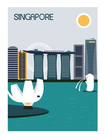 singapore: Illustration of Singapore city in bright colors