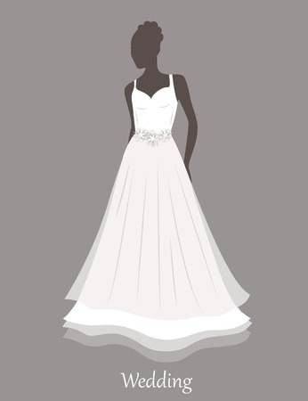 sihlouette: Sihlouette of bride in white wedding dress. Vector