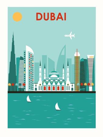 dubai: Illustration of Dubai city in bright colors